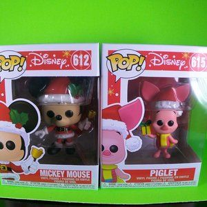 mickey mouse and piget christmas funko pop lot